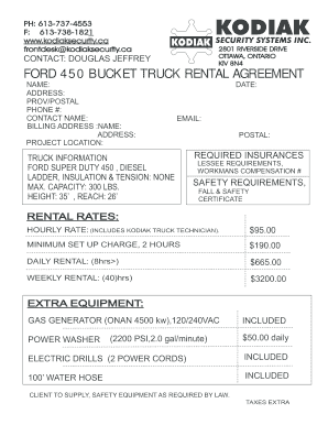 BUCKET TRUCK RENTAL FORM - Kodiak Security - kodiaksecurity
