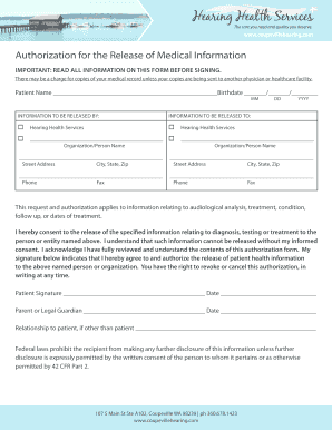 com Authorization for the Release of Medical Information important: read all information on this form before signing