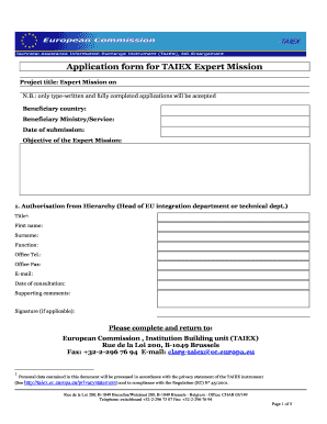 Application form for TAIEX Expert Mission Project title: Expert Mission on N