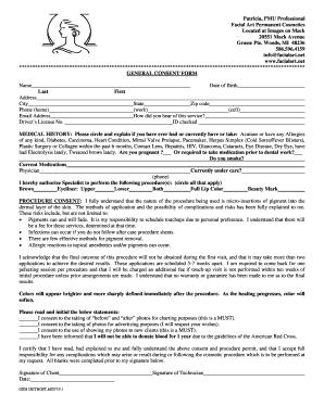 Fillable generic facial consent form - Edit Online