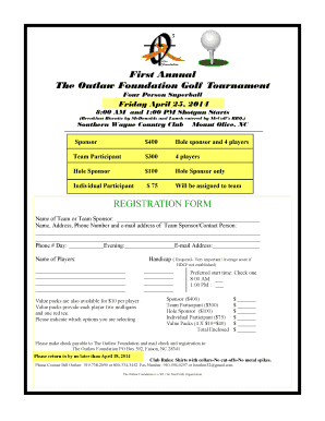 First Annual The Outlaw Foundation Golf Tournament