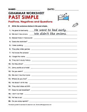 Interrogative Past Tense Fill Online Printable Fillable Blank