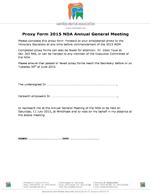 Fillable Online Proxy Form 2015 NDA Annual General Meeting