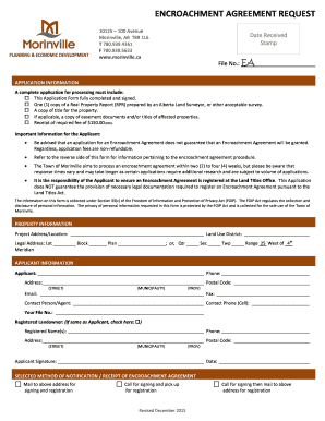 Fillable Online Encroachment Agreement Request Form Fax Email Print