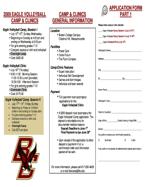 APPLICATION FORM 2009 EAGLE VOLLEYBALL CAMP amp CLINICS PART - mgvca