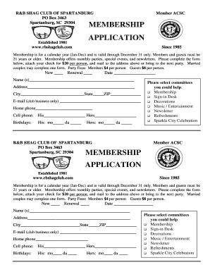 Membership application membership application - R&B Shag Club - rbshagclub
