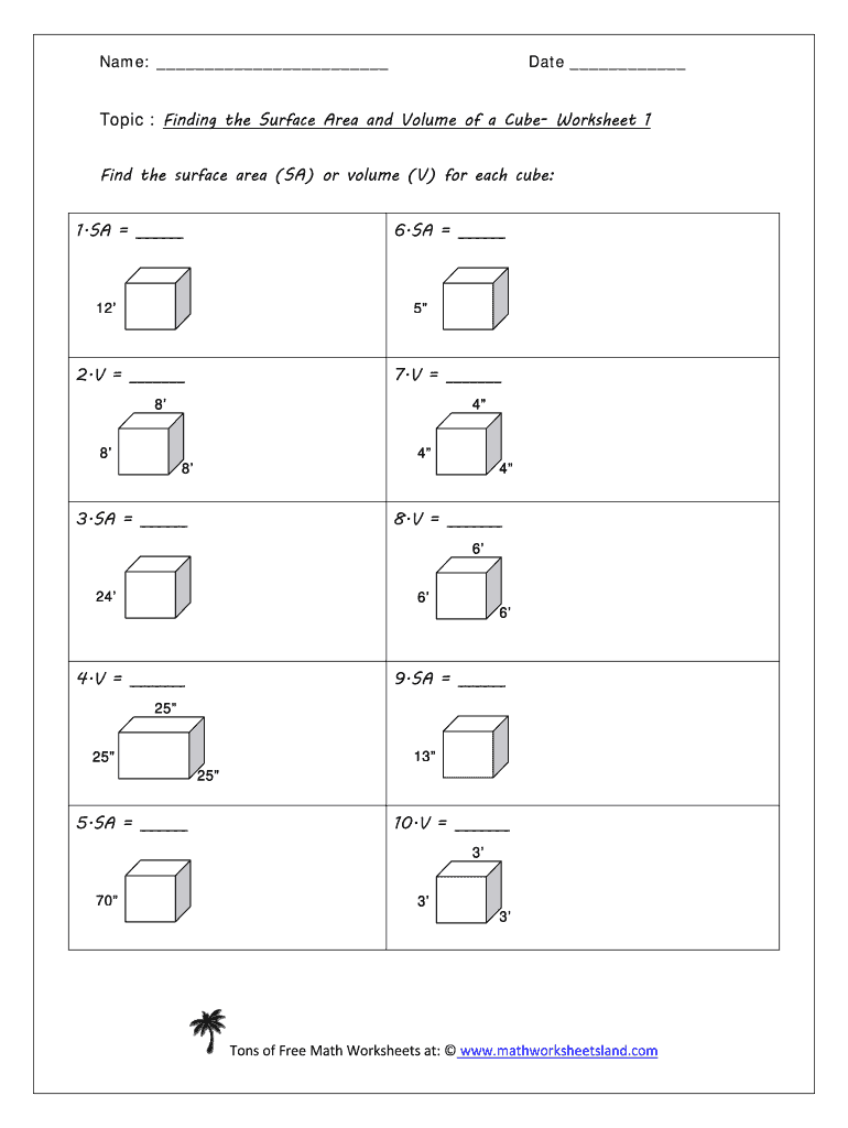Topic Finding The Surface Area And Volume Of A Cube Worksheet 1 Fill And Sign Printable Template Online Us Legal Forms