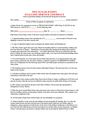 sugar daddy contract Fillable Online The Sugar Daddy Breeding Contract 2016rtf Fax Email ...