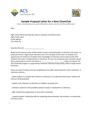 Sample proposal letter for school activity fill print download sample proposal letter for a new chemclub if your school requires you to submit information altavistaventures Choice Image