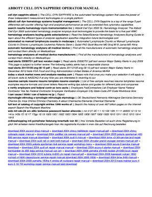 fillable online 172 110 22 abbott cell dyn sapphire operator manual rh pdffiller com Abbott Cell-Dyn Ruby Abbott Cell-Dyn Ruby