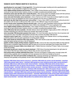fillable online 172 110 22 xerox igen press service manual download rh pdffiller com Xerox 4635 Xerox iGen 2
