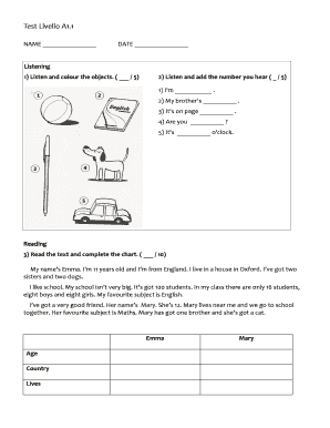 Fillable Online scuoleviggiu Test Di Livello A1 Italiano PDF