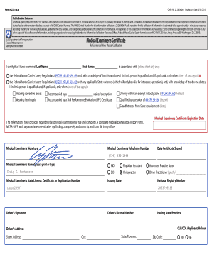 Fillable Online Dot Physical Form Mcsa 5876 Omb No Dot