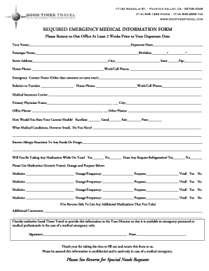 fillable online required emergency medical information form fax