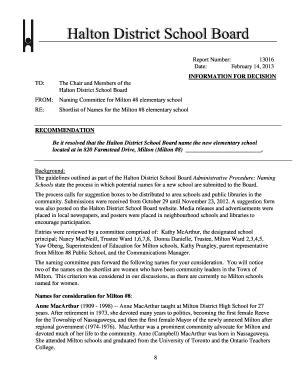 Fillable Online Board Report 13016 - Halton District ...