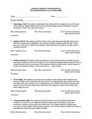 school district food service team employee evaluation form msbo - Peer Evaluation Form