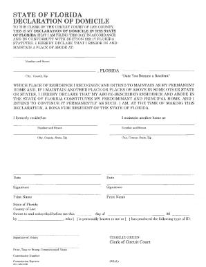 Florida Declaration Of Domicile Form Lee County - Fill Online ...