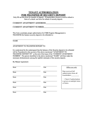 rental deposit form  Security Deposit Transfer Form - Fill Online, Printable ...