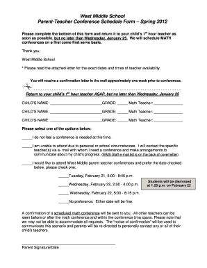 teacher parent conference forms