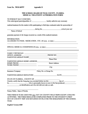 medication permission form for schools florida
