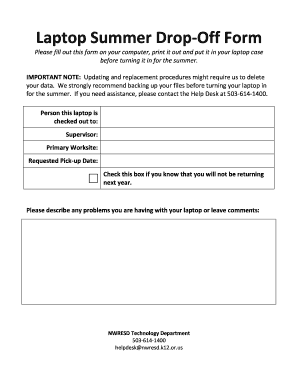 Fillable Online nwresd k12 or Laptop Summer Drop-Off Form - nwresd