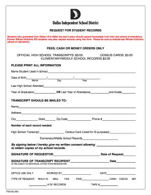 Fillable Online dallasisd Student Records Request Form - Dallas ...