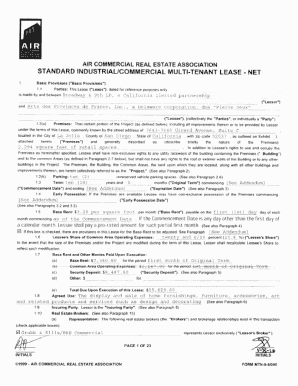 air commercial real estate association standard industrialcommercial multi tenant lease net form. Resume Example. Resume CV Cover Letter