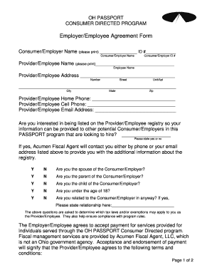 Employer/Employee Agreement Form - Acumen Fiscal Agent