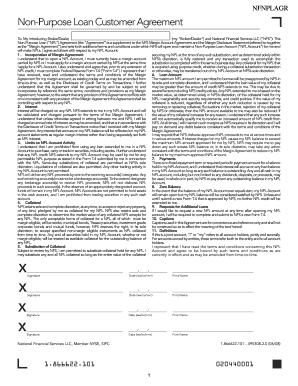 non purpose loan Fillable Online Non-Purpose Loan Customer Agreement Fax Email Print ...