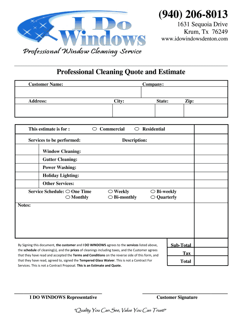 photo regarding Free Printable Cleaning Estimate Forms known as How Towards Window Cleansing Compute Type - Fill On the net