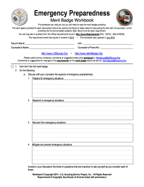 Printables Emergency Preparedness Worksheet boy scout merit badge emergency preparedness worksheet form fill worksheet