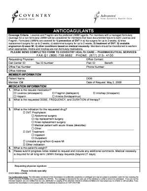 Fillable Online Anticoagulant Prior Authorization Form.doc ...