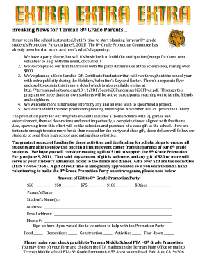middle school donation letter form