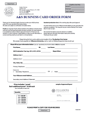 Business Card Order Form Template