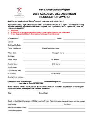 Academic All-American Application Form (PDF) - USA Gymnastics - usagym