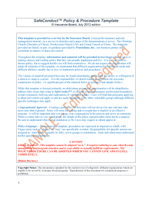 SafeConduct Policy & Procedure Template - United Church of Christ - ucc