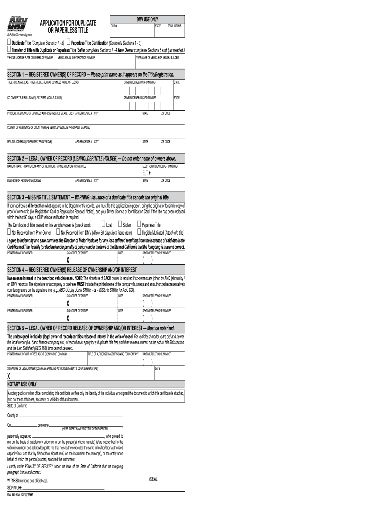 2015-2019 Form CA DMV 227 Fill Online, Printable, Fillable