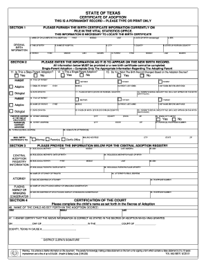 Certificate of Adoption Form - Texas Department of State Health ... - dshs state tx