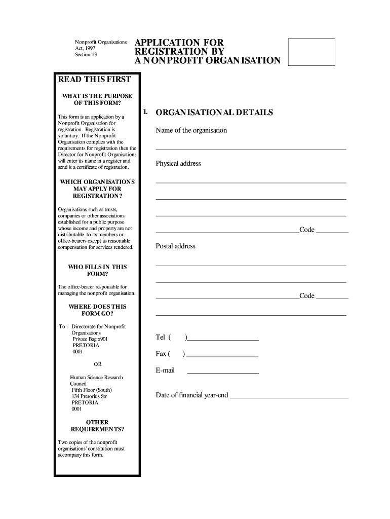 Npo Registration Form Pdf Download 9   Fill Online, Printable ...