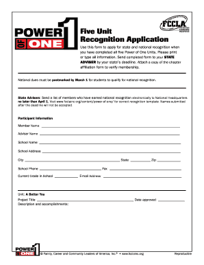 fccla power of one templates to type into form