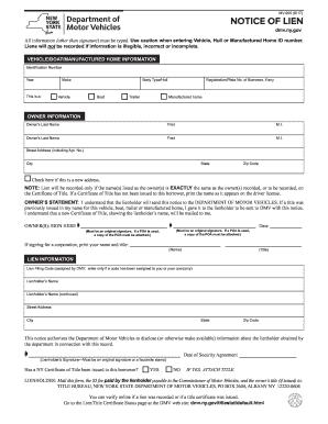 Fillable Online Dmv Ny Notice Of Lien Mv 900 New York