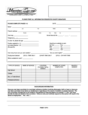 Sample Employment Application Form - Premier Cooperative