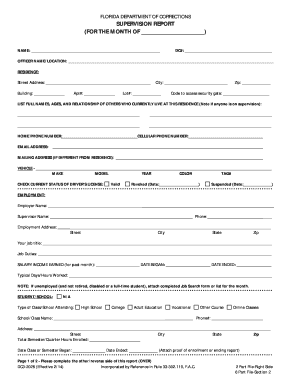 florida department of corrections probation monthly report form