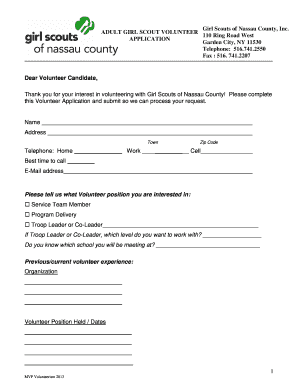 Fillable Online gsnc Adult Volunteer Application Form - .PDF Print ...