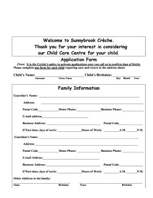 Creche Registration Forms Fill Online Printable Fillable Blank Pdffiller
