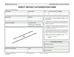 DIRECT DEPOSIT AUTHORIZATION FORM - Highline Public Schools - highlineschools