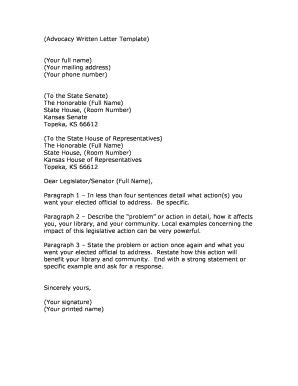 advocacy written letter template
