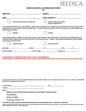DIRECT DEPOSIT AUTHORIZATION FORM - Medica Employees