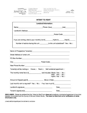 Intent Rent Form Fill Online Printable Fillable Blank