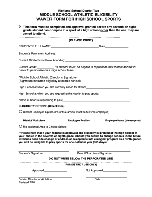 Richland 2 Middle School Eligibility Form Or Middle School Waiver ...